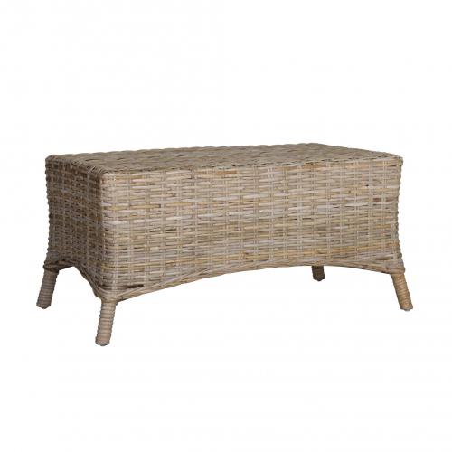 Rattan coffee table or ottoman angled