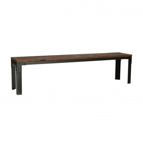 metal frame bench with pine wood top