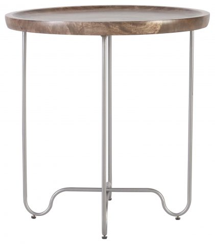 Block & Chisel round mango wood side table with metal legs