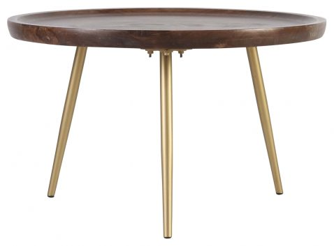 Block & Chisel round mango wood coffee table with metal legs