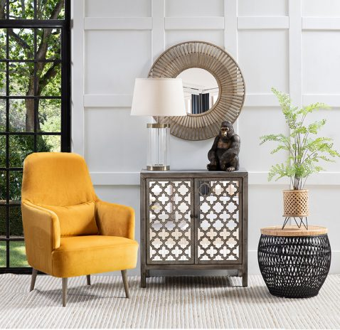 Emily occasional chair in orange mustard upholstery with additional back cushion