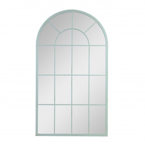 block and chisel arch mirror with green frame