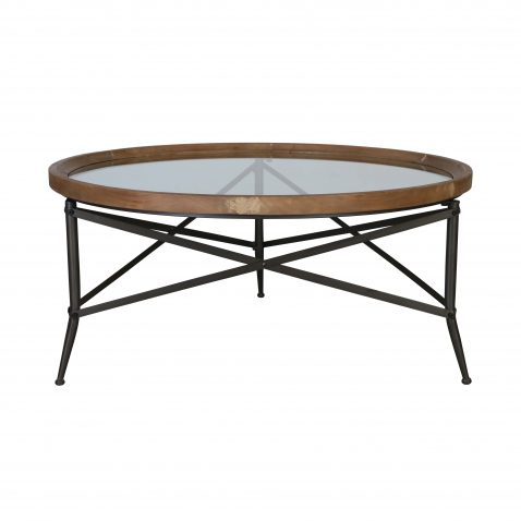 Glass and metal industrial round coffee table