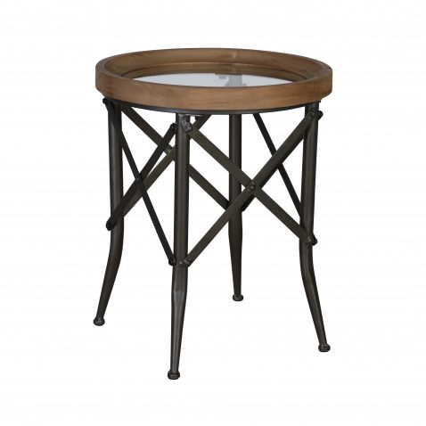 Industrial round side table metal and wood with glass top