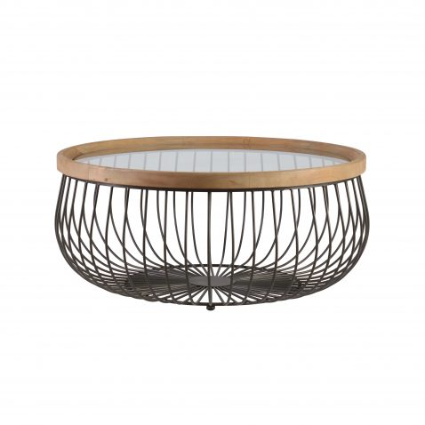 Block & Chisel round industrial style coffee table