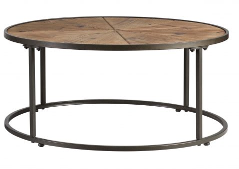 wooden circular coffee table with metal legs