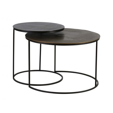 set of nesting tables in metal and bronze
