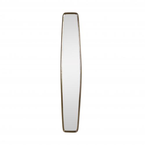 narrow bronze metal frame mirror