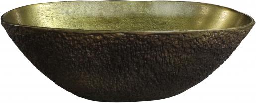 Block & Chisel round aluminium bowl with antique brass inside
