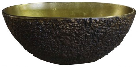 Block & Chisel round aluminium bowl with antique brass inside