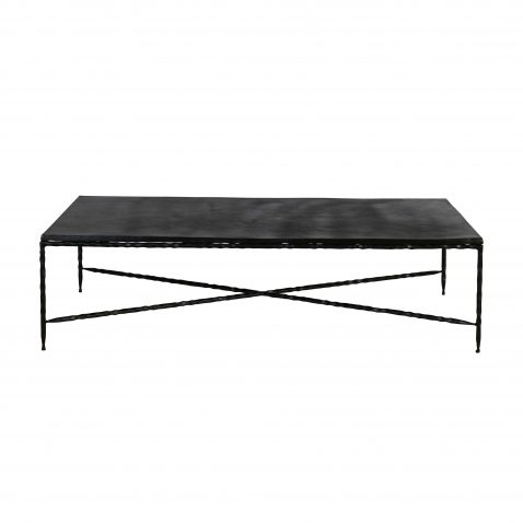 block and chisel metal coffee table with bottom cross bar