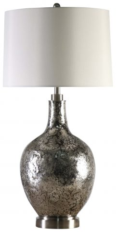 Block & Chisel round iron lamp with white faux silk shade