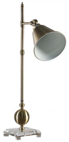 Block & Chisel iron lamp with antique brass finish and clear crystal base