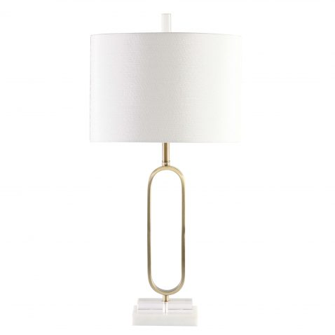 gold metal contemporary lamp base with white lampshade