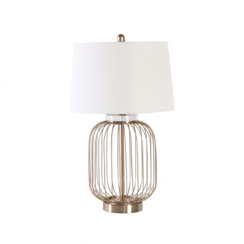 brushed metal oval lamp base and white lampshade
