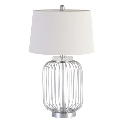 lamp with cage like base in silver