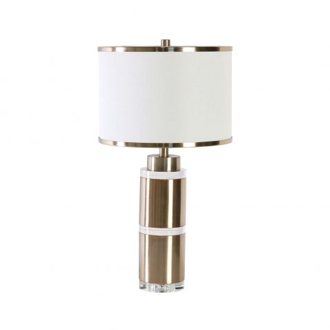 silver metal cylinder nautical lampbase with white and silver rimmed lampshade