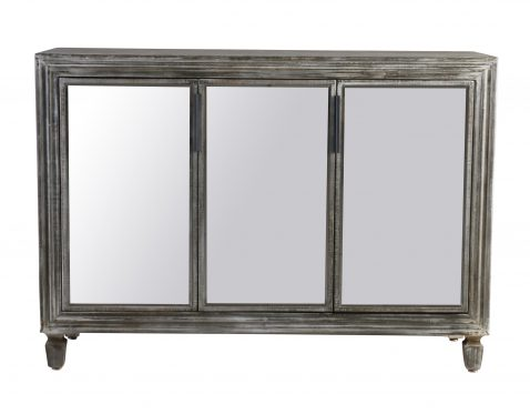 Block & Chisel distressed wooden sideboard with mirrored doors