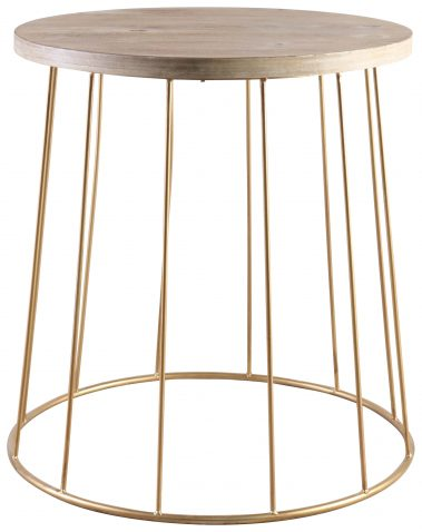 Block & Chisel round side table with iron base