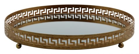 Block & Chisel round iron tray with mirrored base