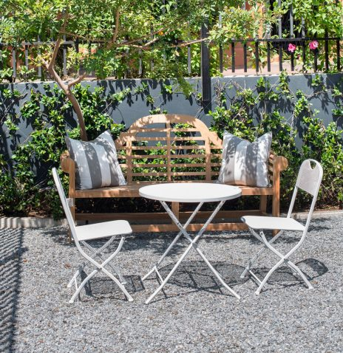 Block & Chisel white metal outdoor cafe set