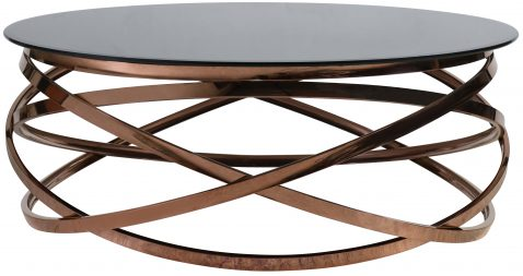 Block & Chisel stainless steel coffee table with tempered glass top