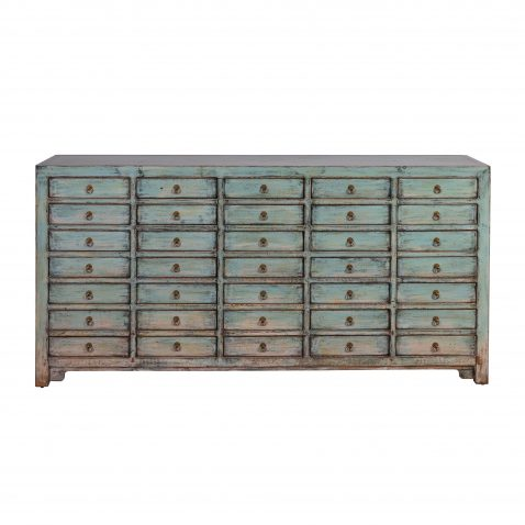 Block & Chisel blue oriental sideboard with antique finish