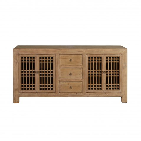 natural elm sideboard with 4 doors and 3 drawers