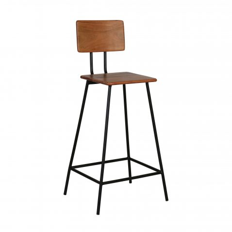 KUJI barstool - Wooden base and backrest with metal legs barstool