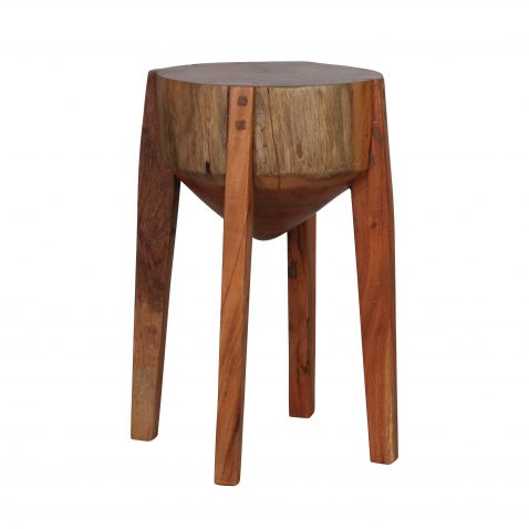 Rustic wooden 4 legged acacia stool or side table