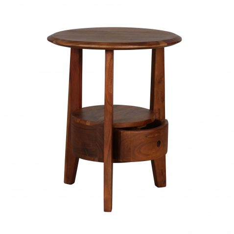 Acacia wooden side table with tripod legs and drawer