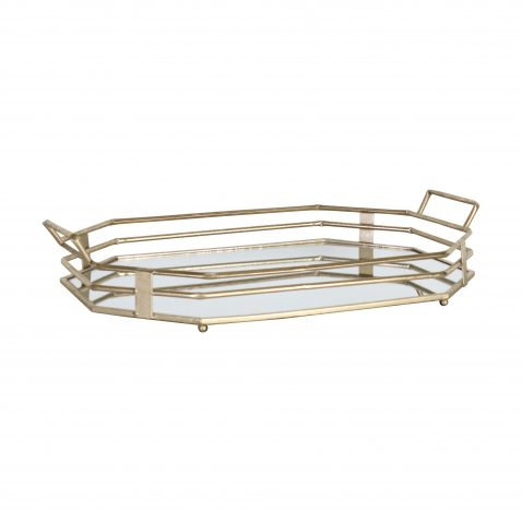 gold metal tray with handles large