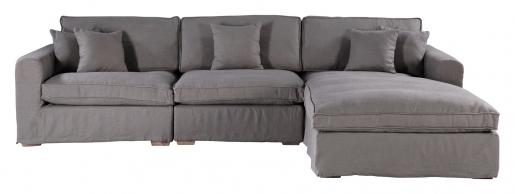 Block & Chisel oatmeal linen upholstered corner sofa