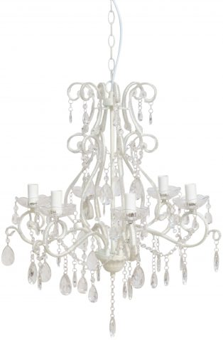 Block & Chisel white iron chandelier