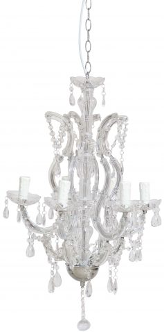 Block & Chisel iron and crystal chandelier