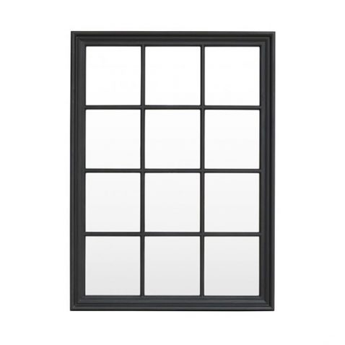 Block & Chisel rectangular panelled mirror with matt black wooden frame