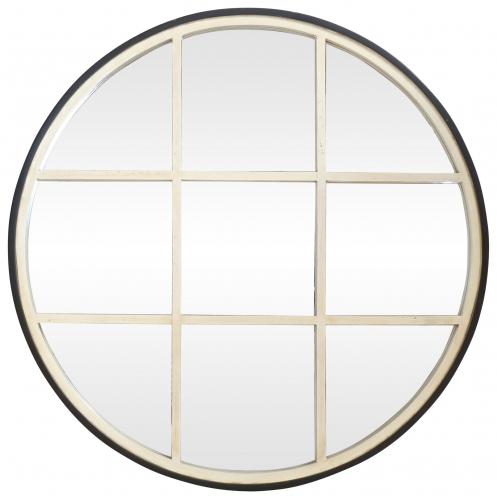 Block & Chisel Round Mirror w/window panels Antique white & Black