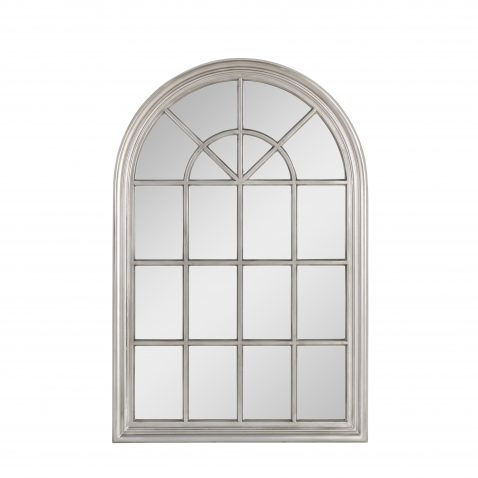 Cathedral arched tall Mirror with antique silver frame