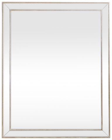 Block & Chisel rectangular mirror with wooden frame and gold finish trim