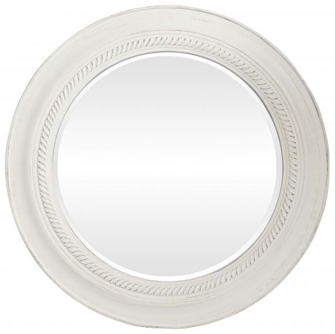 Block & Chisel Mirror round white distressed frame