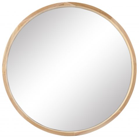 Block & Chisel round mirror with natural wooden frame