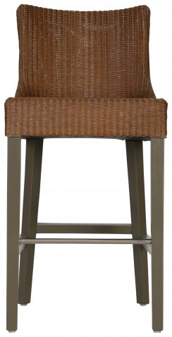 Block & Chisel lloyd loom barstool with timber legs