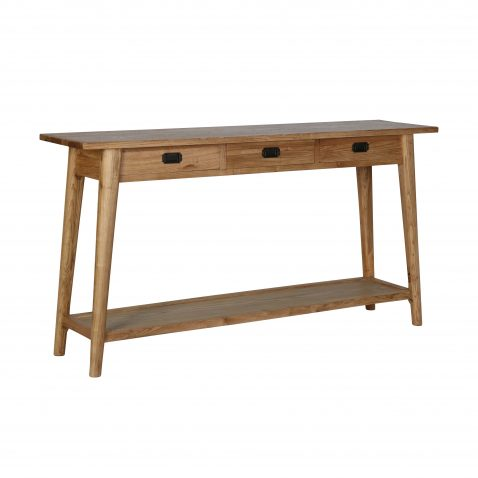 oak console with 3 drawers and bottom shelf