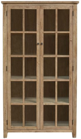 Block & Chisel oak wood bookcase with glass panelled doors