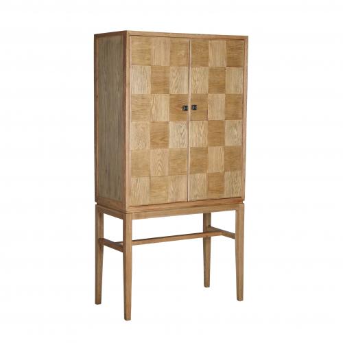 oak parquet cabinet with shelves