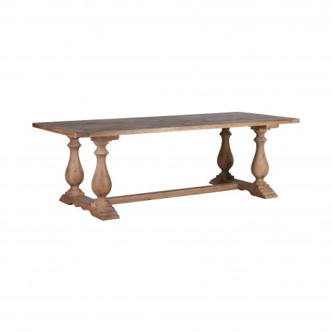 Elm dining table with turned legs