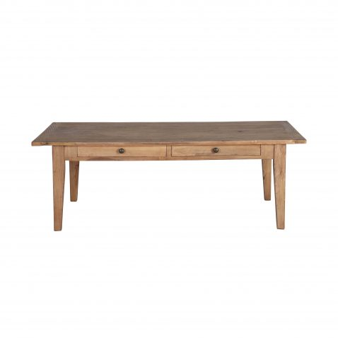 reclaimed elm wood coffee table with 2 drawers