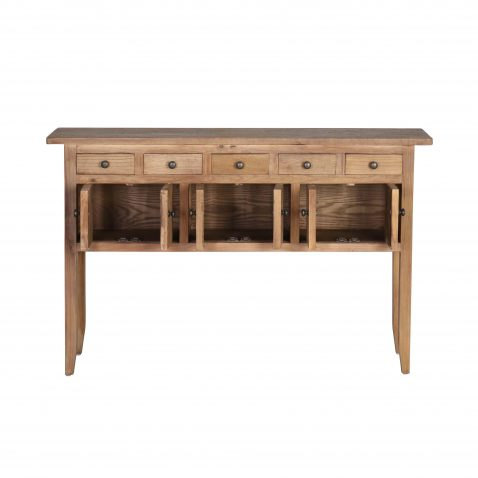 reclaimed elm rustic console with 6 doors and 5 drawers