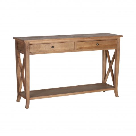 Block and chisel reclaimed elm console with drawers and shelf