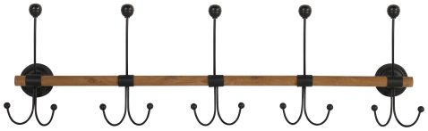 Block & Chisel fir wood coat hook with iron hooks